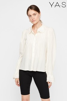 Y.A.S White Ruffle Collar Shirt