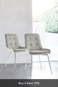 Set of 2 Cole Dining Chairs With Chrome Legs