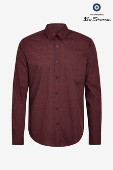 Ben Sherman Red Long Sleeve Paisley Print Shirt