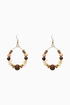Wooden Beaded Hoop Earrings