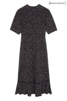Warehouse Black Spot Lace Trim Midi Dress