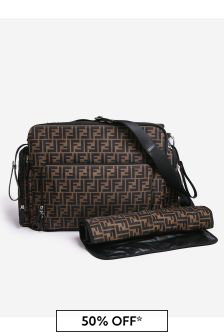 Fendi Kids Brown Logo Baby Changing Bag