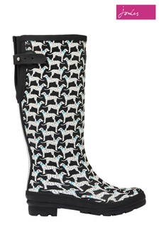 Joules Black Print Wellies