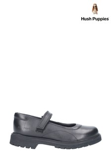 Hush Puppies Black Tally Junior Touch Fastening Shoes