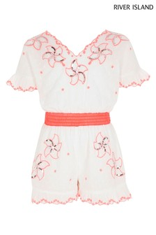 River Island White  Embroidered Playsuit