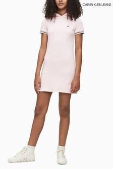 Calvin Klein Pink Logo Intarsia Hoody Dress
