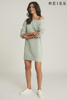 Reiss Green Portia Off-The-Shoulder Sweatshirt Dress