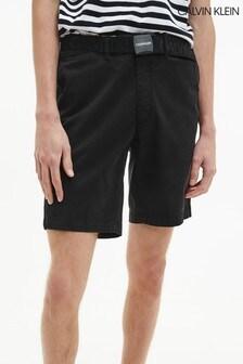 Calvin Klein Black Garment Dye Belted Shorts
