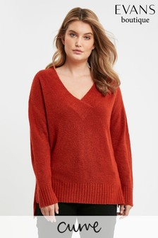 Evans Curve Rust V-Neck Jumper