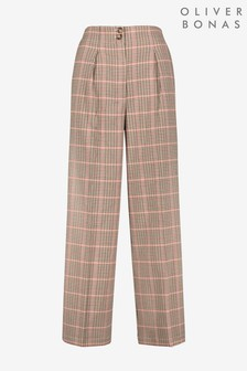 Oliver Bonas Destiny Checked Brown Wide Leg Trousers