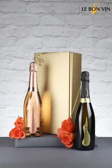Set of 2 Vintage Prosecco And Sparkling Rosé Wine Gift Set by Le Bon Vin