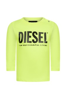 Baby Boys Neon Yellow Cotton Long Sleeve T-Shirt