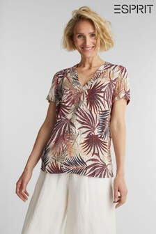 Esprit Cream Short Sleeved Silky Touch Viscose Woven Blouse