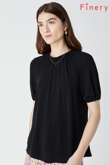 Finery Black Silbury Gathered Neck And Sleeve Top