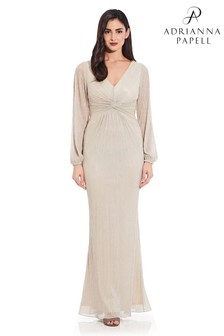 Adrianna Papell Plus Glitter Knit Draped Gown