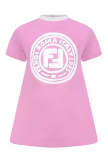 Baby Girls Pink Cotton Logo Dress