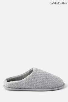 Accessorize Grey Bubble Stitch Slippers