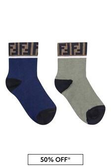 Kids Green/Navy Socks Two Pack