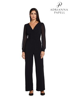 Adrianna Papell Black Jersey Jumpsuit With Sleeves