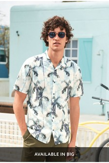 Tie Dye Palm Print Short Sleeve Shirt