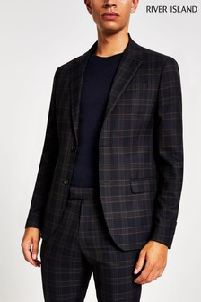 River Island Navy New Orleans Check Skinny Jacket