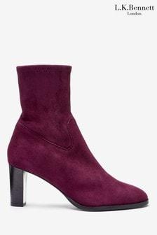 L.K.Bennett Purple Kayla Stretch Leather Ankle Boots