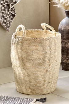 Blonde Woven Laundry Basket