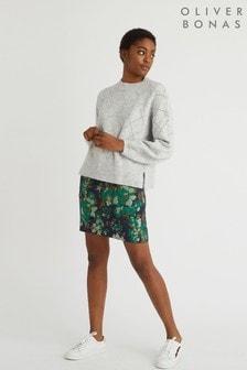 Oliver Bonas Rome Floral Jacquard Blue Mini Skirt