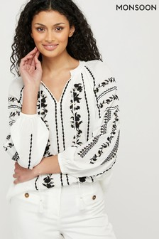 Monsoon Cream Sienna Embroidered Top