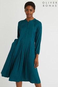 Oliver Bonas Eclipse Jacquard Pleated Dress