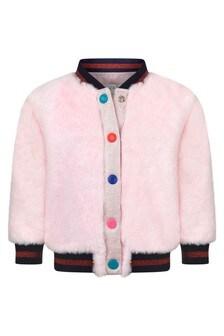 Baby Girls Pink Faux Fur Mascot Jacket