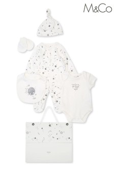 M&Co Kids White Moon Print 6 Piece Starter Set