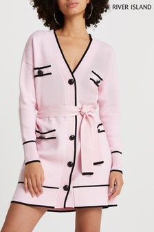 River Island Pink Light Tipped Belted Cardigan