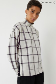 Warehouse Natural Check Funnel Neck Sweatshirt