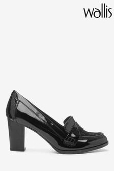 Wallis Black Heeled Loafers