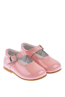 Andanines Girls Patent Pink Scalloped Edge Mary Jane Shoes
