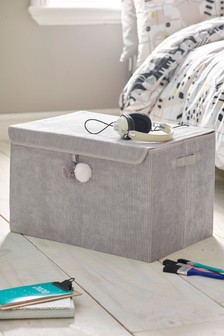 Large Pom Pom Corduroy Storage Box