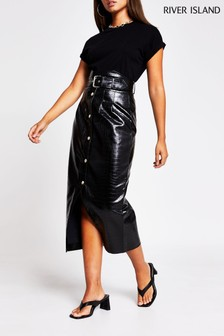 River Island Black High Waist Tulip Skirt