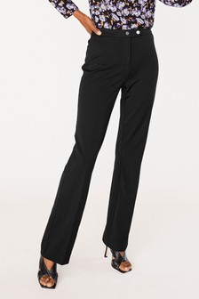Elastic Back Button Detail Boot Cut Trousers