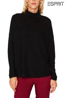 Esprit Black Structured Roll Neck Sweater