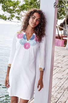 Boden White Eda Embroidered Jersey Tunic