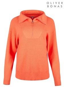 Oliver Bonas Orange Zipped Knitted Jumper