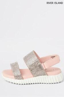 River Island Pink Light Diamanté Sport Sandals
