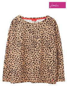 Joules Brown Marina Tan Leopard Print Jersey Top