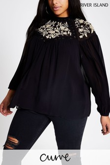 River Island Black Beaded High Neck Top