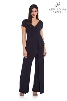 Adrianna Papell Crepe Cascade Jumpsuit