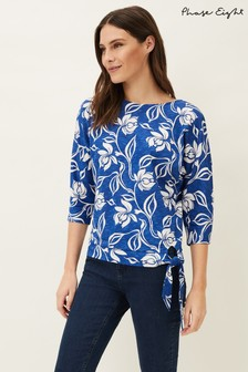 Phase Eight Blue Cassidy Floral Printed Tie Hem Top