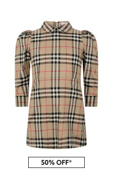 Girls Beige Vintage Check Cotton Dress
