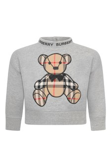 Baby Boys Grey Cotton Teddy Sweater