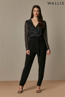 Wallis Black Infinity Mesh Sleeve Jumpsuit